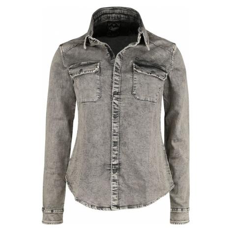 Queen Kerosin Jog Denim Shirt košile šedá