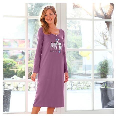 Blancheporte Dlouhá noční košile s potiskem lila