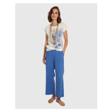 Kalhoty La Martina Woman Trousers Light Linen - Modrá