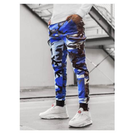 Stylové maskáčové modro-černé joggery G/11132