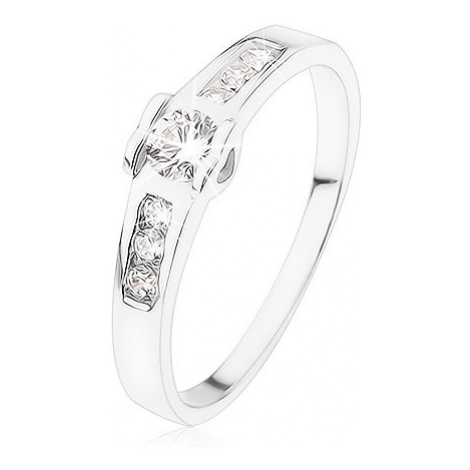 Zásnubní prsten ze stříbra 925, kulatý čirý zirkon, srdíčka, zirkonová linie Šperky eshop