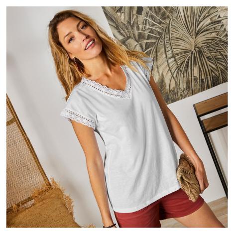 Blancheporte Jednobarevné tričko macramé s krátkými rukávy bílá