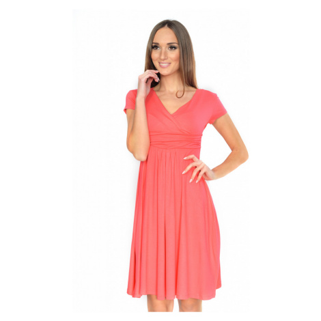 Delší vycházkové šaty s krátkým rukávem barva korálová Oxyd