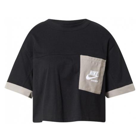 Nike Sportswear Tričko 'Heritage' černá / režná / bílá