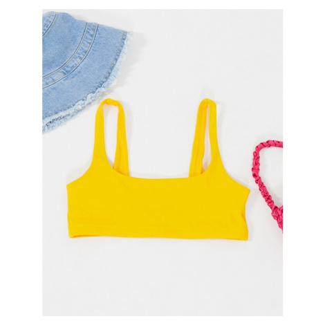 Weekday Desert scoop neck bikini top in orange