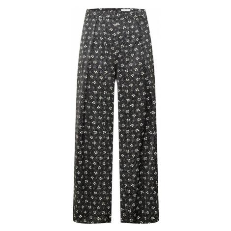GLAMOROUS CURVE Kalhoty se sklady v pase černá / bílá / šedá