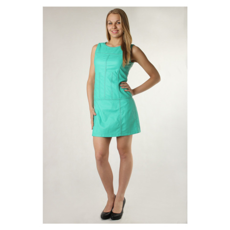 Dámské krátké koženkové šaty s širokými ramínky