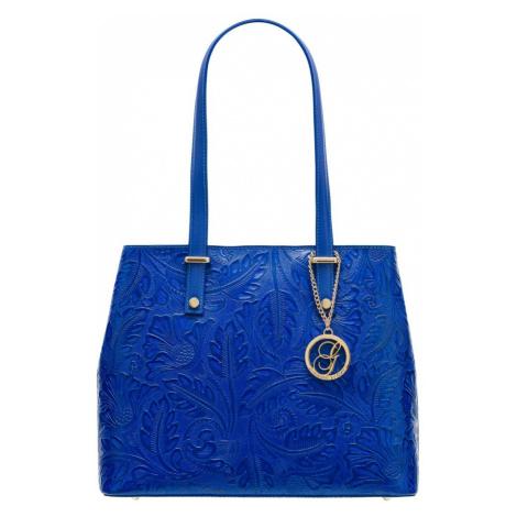 Kožená kabelka s květy přes rameno - královsky modrá Glamorous