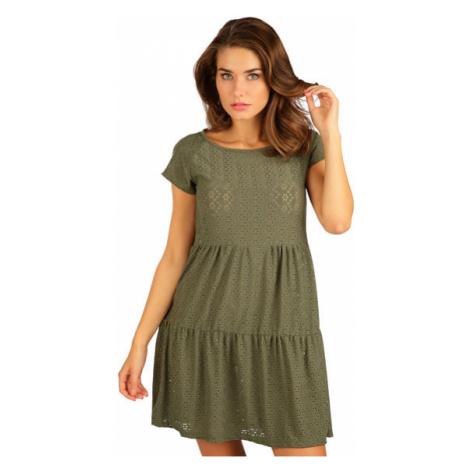 Dámské šaty s krátkým rukávem Litex 5B118 | khaki