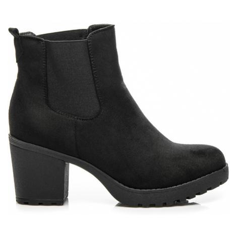 Elegantní černé kotníkové boty s elastickou vsadkou Queentina