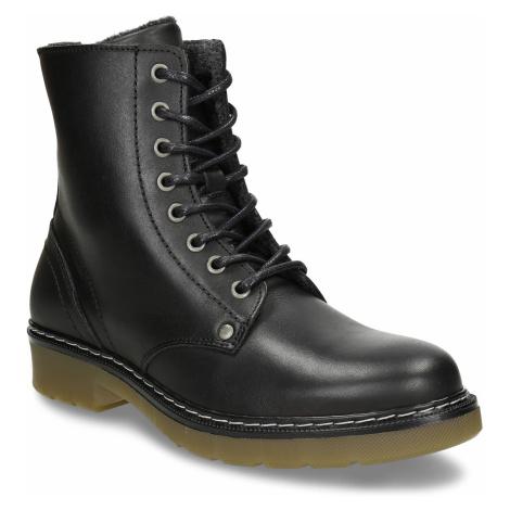 Černá dívčí kožená kotníková obuv s hrubou podešví Bullboxer