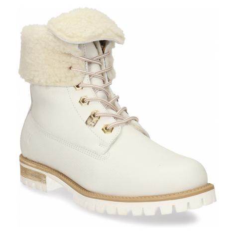 Dámská bílá kožená obuv s kožíškem Weinbrenner