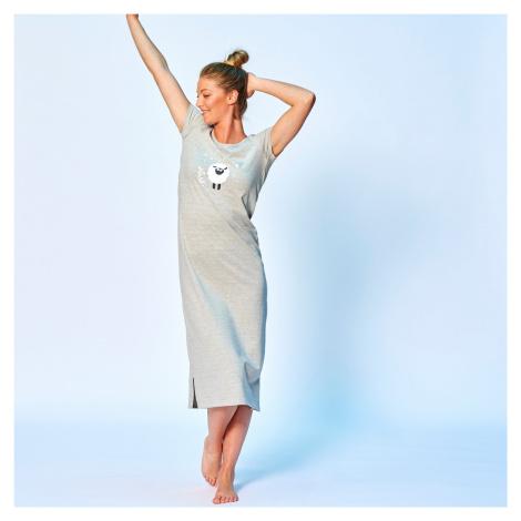 Blancheporte Dlouhá noční košile s motivem oveček šedý melír