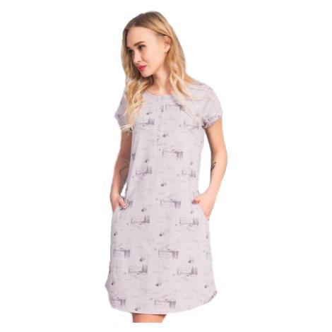 Dámské domácí šaty s krátkým rukávem Vienetta Secret Lydie   šedá