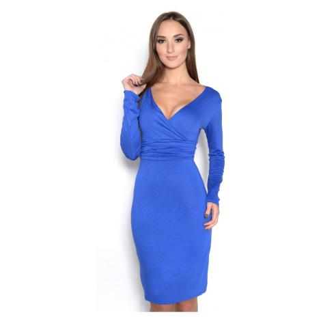 Šaty s dlouhým rukávem a véčkovým dekoltem barva modrá