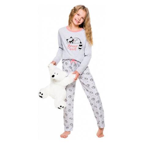 Dívčí pyžamo Maja šedé s mývalem Taro