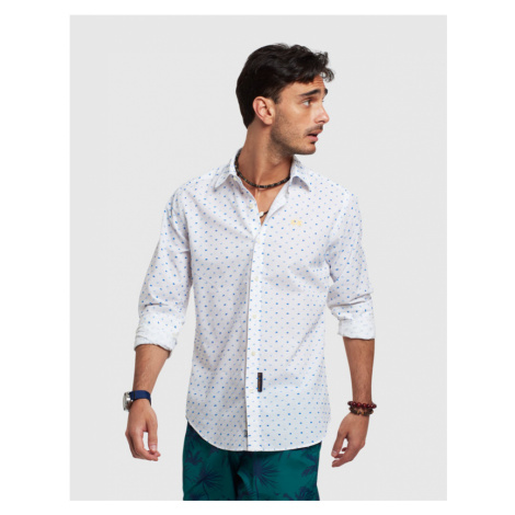 Košile La Martina Man Shirt Long Sleeves Plumeti - Bílá
