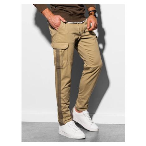 Ombre Clothing Stylové kamelový kalhoty P893