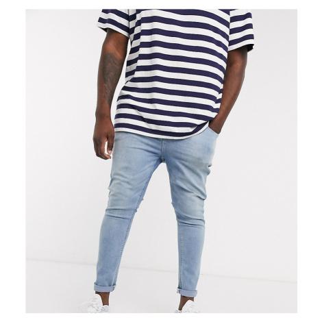 ASOS DESIGN Plus spray on jeans in power stretch denim in light wash-Blue