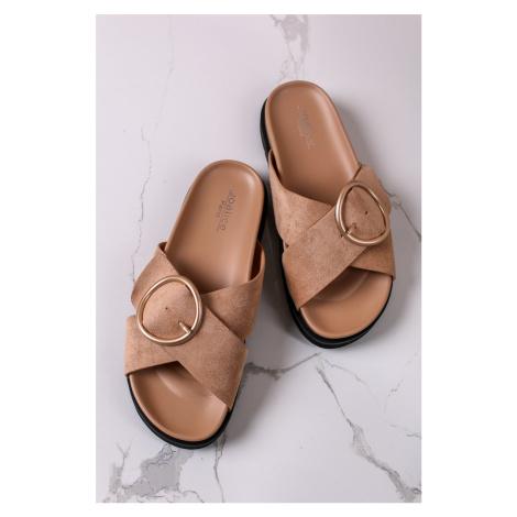 Skořicové semišové nízké pantofle Barbara Bestelle