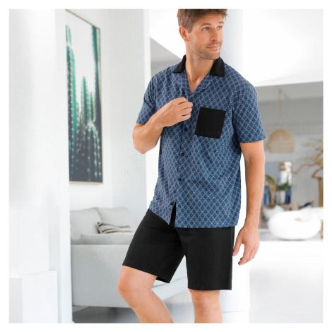 Blancheporte Pyžamo se šortkami a košilí s krátkými rukávy šedá/černá