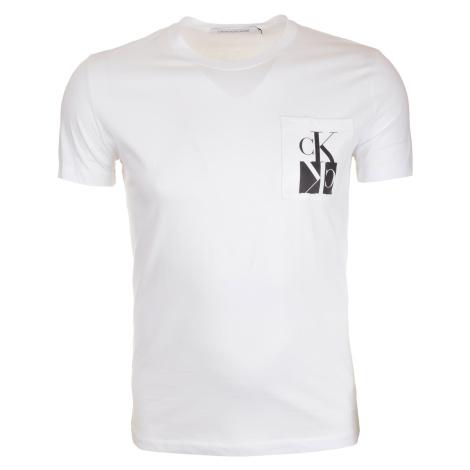 Pánské bílé tričko s náprsní kapsou Calvin Klein