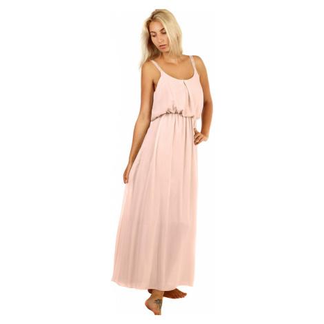 Jednobarevné maxi šaty s krajkovými ramínky