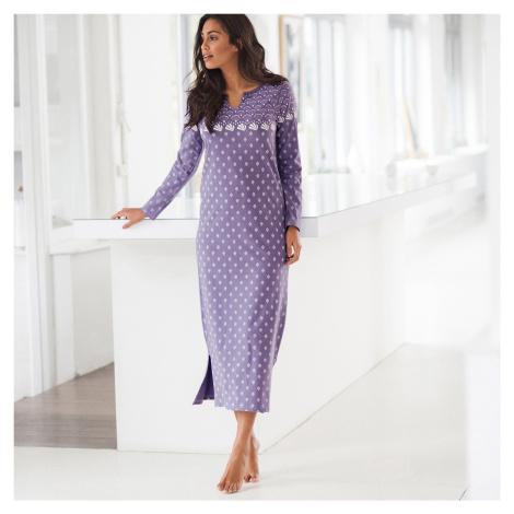 Blancheporte Dlouhá noční košile s dlouhými rukávy lila
