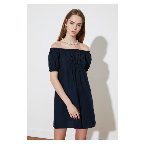 Trendyol Navy Blue Ruffle Carmen Collar Dress