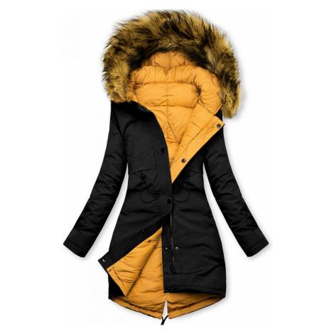 Černo-žlutá oboustranná zimní bunda Butikovo