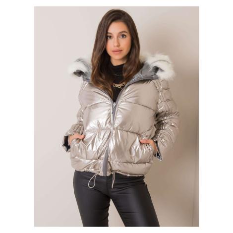 Oboustranná stříbrně béžová zimní bunda s kožešinou
