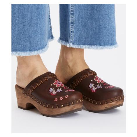 Pantofle Odd Molly Leather Clogs Of Heart - Hnědá