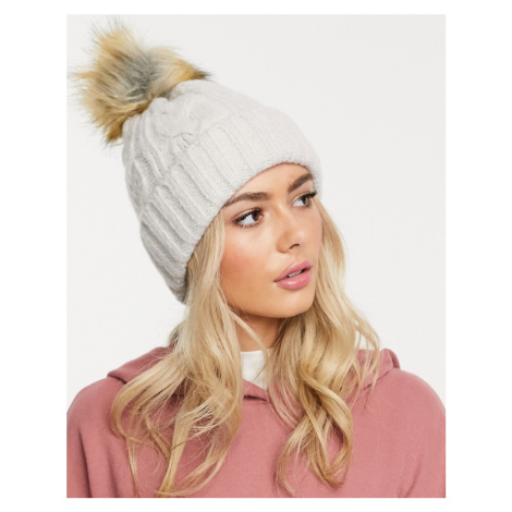 ASOS DESIGN cable faux fur pom beanie hat in marl-Beige