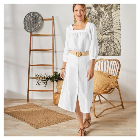 Blancheporte Jednobarevná dlouhá sukně s knoflíky bílá