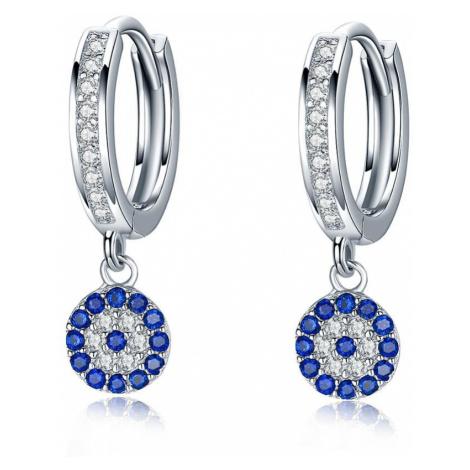 Linda's Jewelry Stříbrné náušnice Kruhy Zirkon Circle Blue IN049