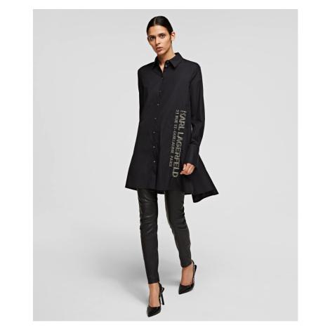 Košile Karl Lagerfeld Embellished Poplin Tunic Shirt - Černá