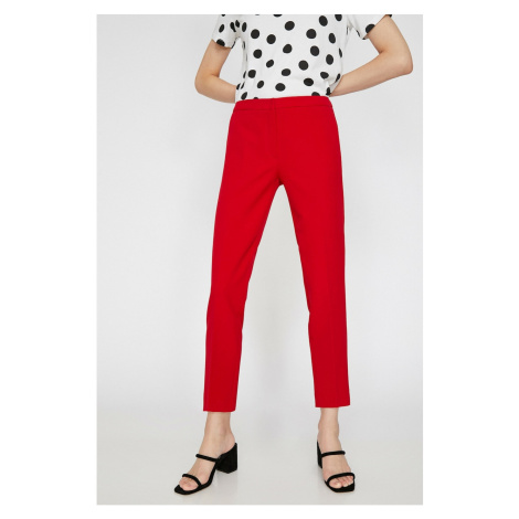 Koton Women's Red Straight Cut Trousers