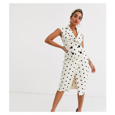 ASOS DESIGN Petite wrap midi dress in spot-Multi