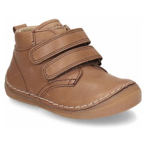Hnědá dětská kotníková kožená obuv na suchý zip Froddo