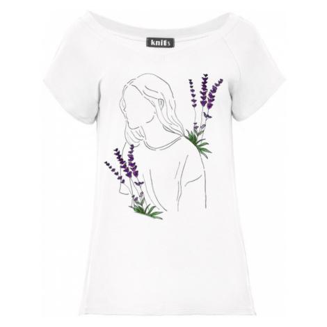 Dámské tričko s ženskou postavou a levandulí K534