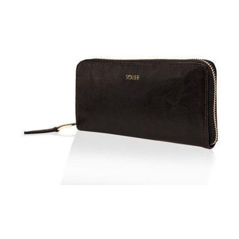 Elegantní dámská černá peněženka kožená Na zip