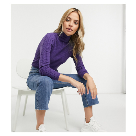 Fashion Union Petite high neck jumper in cable knit-Blue
