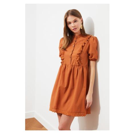 Trendyol Camel Lace Detail Ruffle Dress