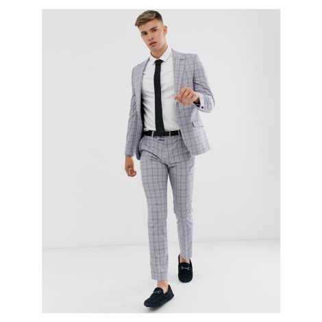 River Island skinny suit trousers in powder blue check