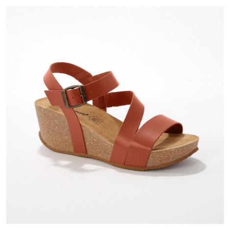 Blancheporte Kožené sandály na klínku, přírodní přírodní