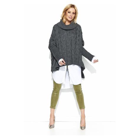 Oversize pletený svetr s pletenou vazbou pončo Makadamia