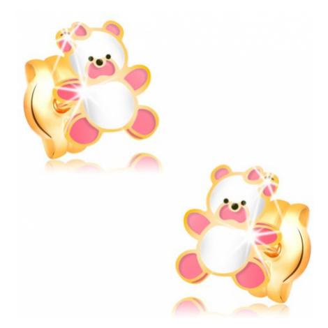 Zlaté náušnice 585, medvídek zdobený růžovou a bílou glazurou, puzetky Šperky eshop
