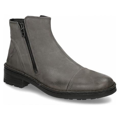 Dámské kotníkové boty z šedé kůže Baťa
