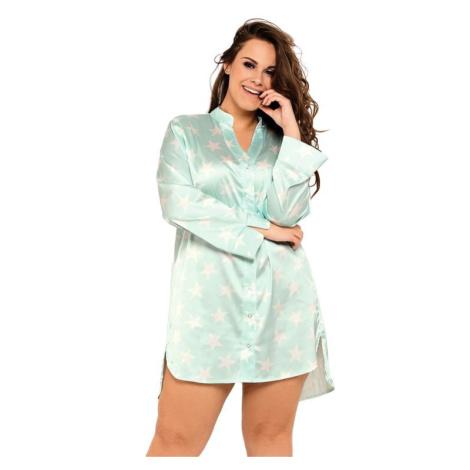 Saténová noční košile Alicia mint s hvězdami Pigeon