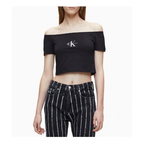 Calvin Klein Calvin Klein dámský černý top SS MONOGRAM LOGO BARDOT TOP